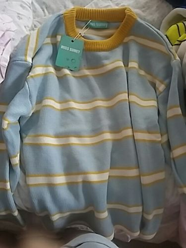 Blue Yellow Stripes Cute O Neck Sweater Reviews