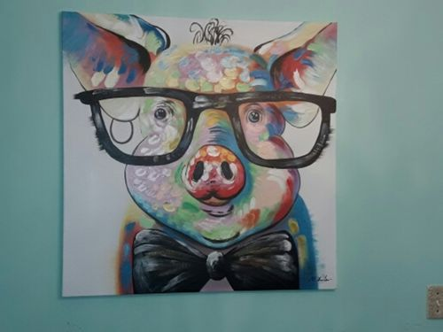 Pig Wearing Glasses Painting On Canvas Reviews