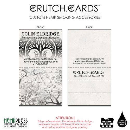 Crutch cards are custom hemp rolling tips hemp paper business cards colin eldridge reheart Choice Image