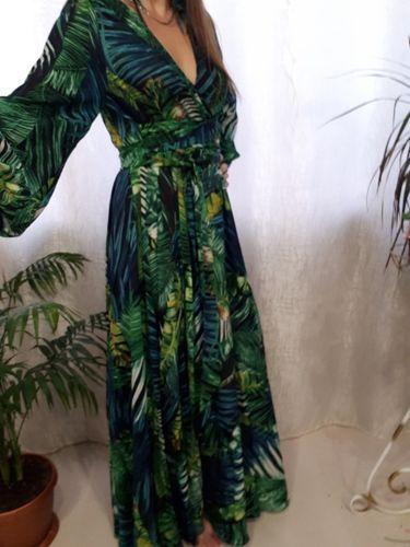 f58fcc390c Sexy Floral Print Long Sleeves Maxi Dress