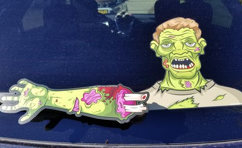 Dead Dave the Wave Zombie WiperTag with Decal for Rear Vehicle Wipers
