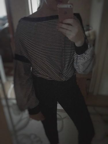 0e4196a5f6 Black and White Striped Pattern Pullover Sweatshirt · Black Elegant Button  Sleeve Top
