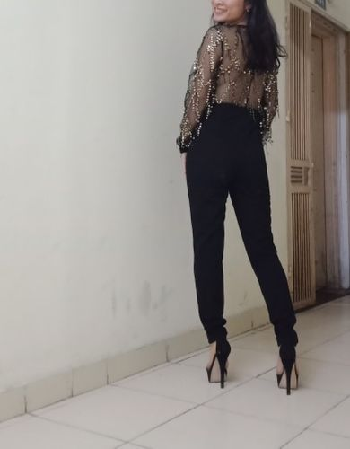 95b4875e7e Black Highstreet Sequin Embellished Mesh Sleeve Jumpsuit