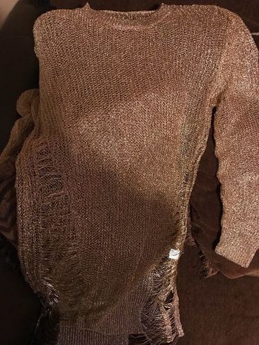 7671b294e4e Ziamonga Gold Metallic Knitted Shredded Sweater Dress Popular Stretch Sexy  Ladder Cut-Out Metallic Sequins Dress Beach Wear