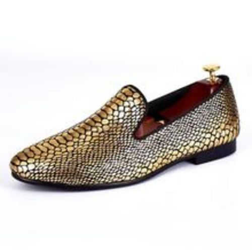 d4b85b9390a Gold Snake Skin Pattern Style Men Loafers Shoes