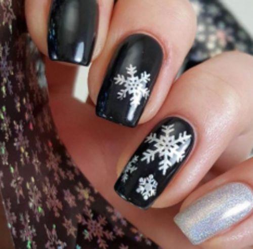 2pcs Holographic Christmas Snowflake Nail Art Stickers Xmas Nail