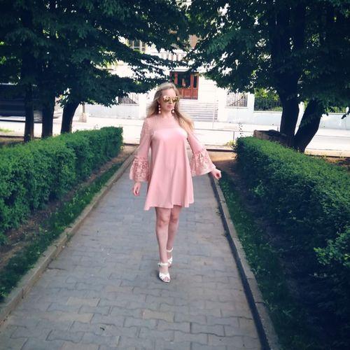 81d178405619 SHEIN Eyelet Crochet Lace Detail Frill Trim Dress 2018 Summer Round Neck  Butterfly Sleeve Dress Women Pink Elegant Ruffle Dress