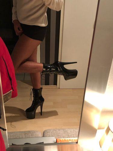 jialuowei 20CM Extreme High Heels Platform Boots Lace Up Pole Dancing Ankle  Boots Side Zip Black Plus Size ccbad942d9e0