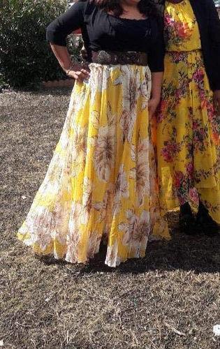 89c17b0a441 Jupe Longue Mousseline Chic Jaune Imprimee Fleur Floraison MB65039-7 ...