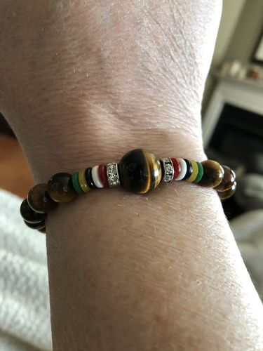 Sherry M. review of Natural Tiger Eye Lucky Stone Mantra Prayer Beads Bracelet