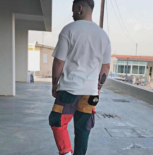 b762d71d27 Aelfric Eden hombres PANA Patchwork bolsillos Cargo pantalones 2018 d