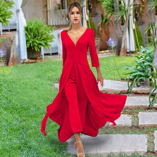 fd2eb4290d Fashion Bodycon Maxi Dress Jumpsuit · Sexy Long-Sleeved Waist Open Slit  Evening Dress