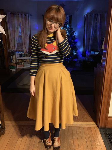 bedbc208735 Odette Skirt in Mustard Wool by Sheen Clothing · Deer Me Cardigan by Sourpuss  Clothing