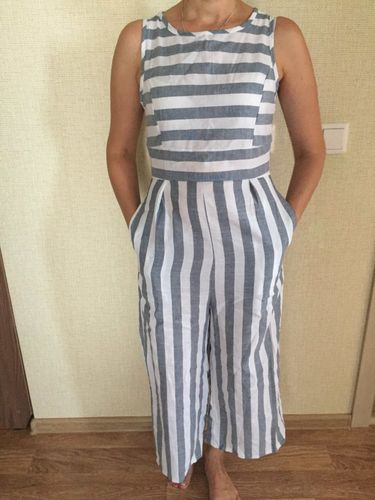 eeaa458736ed Pavacat Casual Striped Wide Leg Jumpsuit