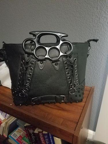 Goth Punk Rave Large Brass Knuckles Handles Black Tote