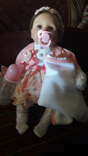NPK DOLL 16in Reborn Baby Girl in Cherry Blossom Skirt, Cloth Body Silicone Realistic Handmade Babies Dolls