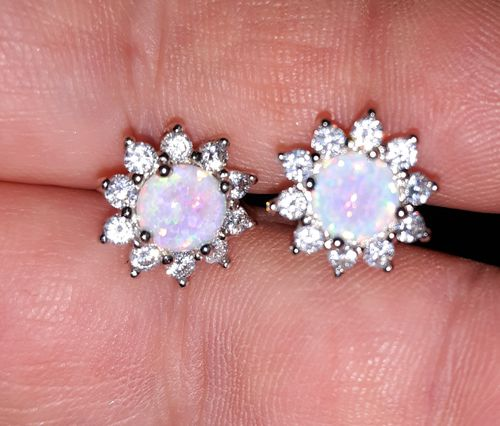 Gina C. review of White Fire Opal Silver Earrings