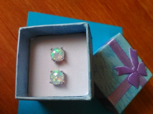 Frances C. review of Blue & White Fire Opal Stud Earrings