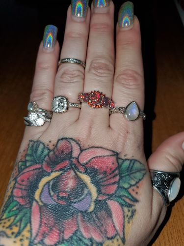 Kimberly H. review of Orange Fire Opal Garnet Silver Ring