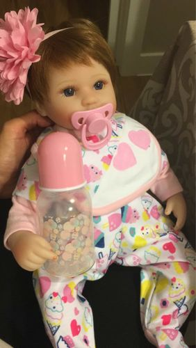 16in Marria Reborn Baby Doll Girl, Cloth Body Silicone Realistic Handmade Babies Dolls