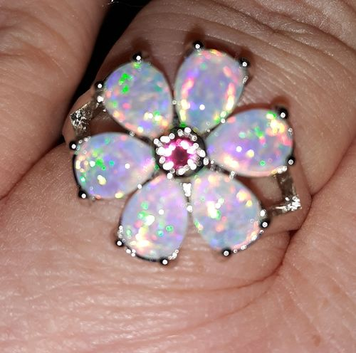 Gina C. review of White Fire Opal Flower Silver Ring