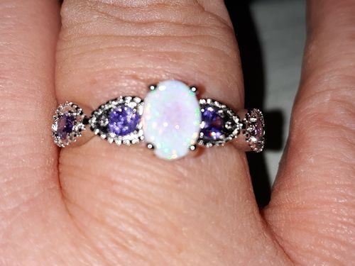 Gina C. review of White Fire Opal Amethyst Ring