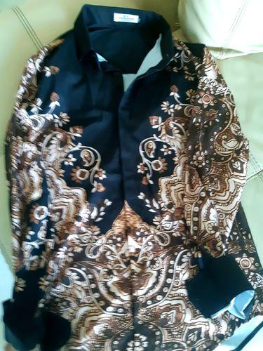 60a2a98c0d1 Luxury Batik Art Pattern Print Men Slim Fit Long Sleeves Shirt