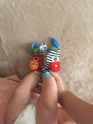 OYTRO Infant Baby Wrist Rattles Foot Socks Rattle Cute Animal Soft Toys Rattles