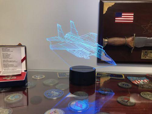 3D Optical Illusion Lamp With Remote F-15E Strike Eagle Jet