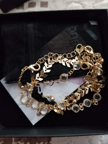 Rafaela T. review of Chevron and Crystals Anklet Set - 3pcs