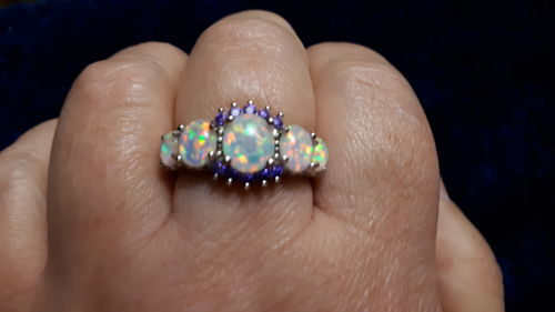Anita L. review of White Fire Opal Amethyst Silver Ring