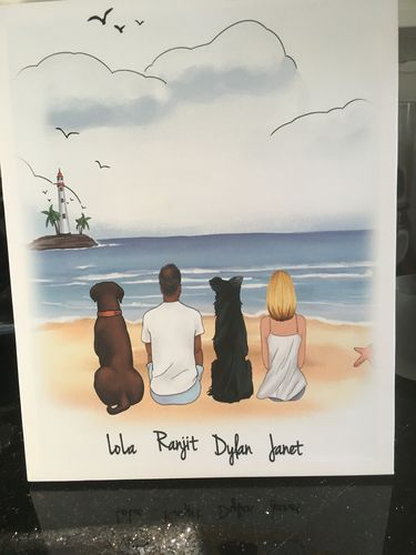 Ranjit P. review of Customize Hand Drawn Dog & Owner Canvas Print Frame Holiday of Gift -Beach Scenery