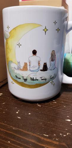 Fabio F. review of Customize Hand Drawn Cat & Owner Mug Holiday of Gift -Cloud with Moon
