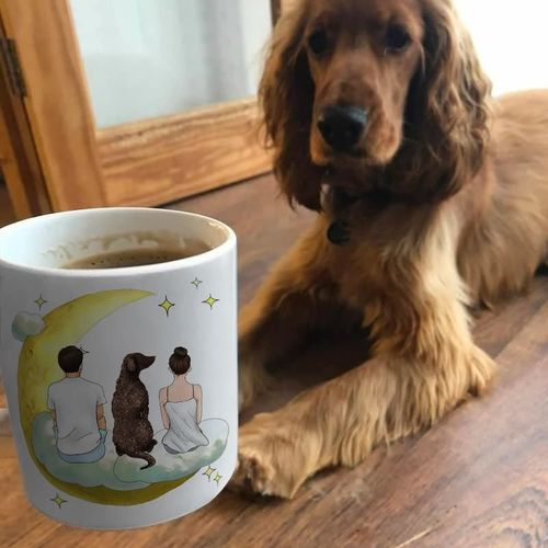 d s. review of Customize Hand Drawn Dog & Owner Mug Holiday of Gift -Cloud with Moon