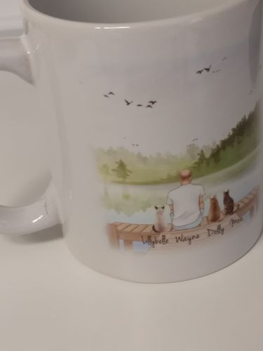 Tina E. review of Customize Hand Drawn Cat & Owner Mug Holiday of Gift -Lakeside Deck