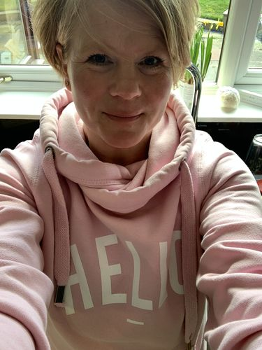 Alex S. review of Pink Hello Cowl Neck Hoodie