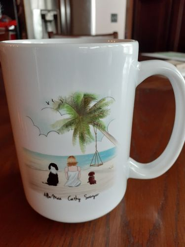 Cathy S. review of Customize Hand Drawn Dog & Owner Mug Holiday of Gift -Hawaii