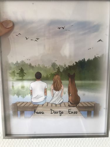 Doortje V. review of Customize Hand Drawn Dog&Dog Owner Aluminum Frame Crystal Porcelain Painting Holiday of Gift -Lakeside Deck