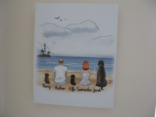 Samantha L. review of Customize Hand Drawn Dog & Owner Canvas Print Frame Holiday of Gift -Beach Scenery