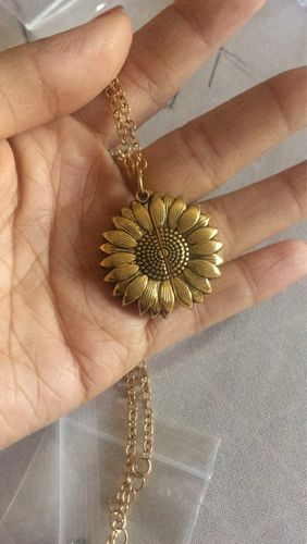P***n review of Sunflower Necklace Pendant You Are My Sunshine