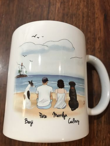 Merrilyn F. review of Customize Hand Drawn Dog & Owner Mug Holiday of Gift -Beach Scenery