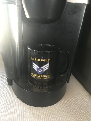 James W. review of US Air Force E-4 Senior Airman SrA E4 Enlisted Airman Ranks AF Rank Proudly Served Black Mug 11 oz - 15 oz