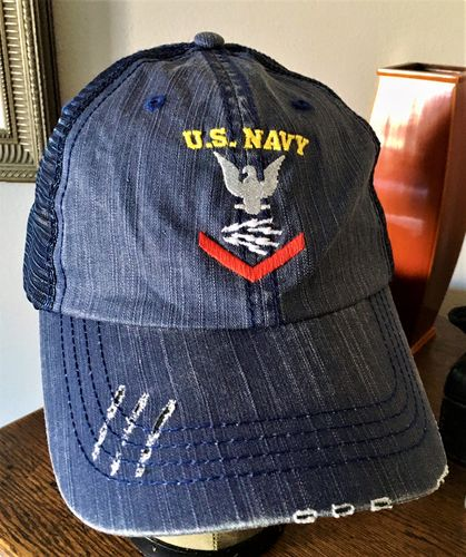 Robert A. review of US Navy Radioman RM E-4 Rating Badges Embroidered Distressed Unstructured Trucker Cap
