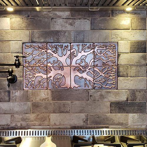 Tree Of Life Kitchen Backsplash Tiles Set Of 20 Mymetalcraft Copper Tiles Backsplash Metal Wall Art