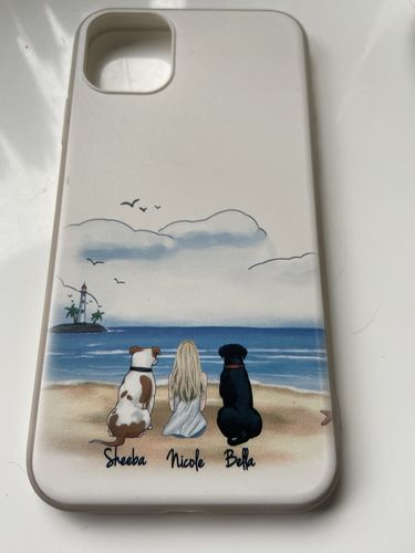 Nicole B. review of Customize Hand Drawn Dog&Dog Owner Photo iPhone Case -Beach Scenery