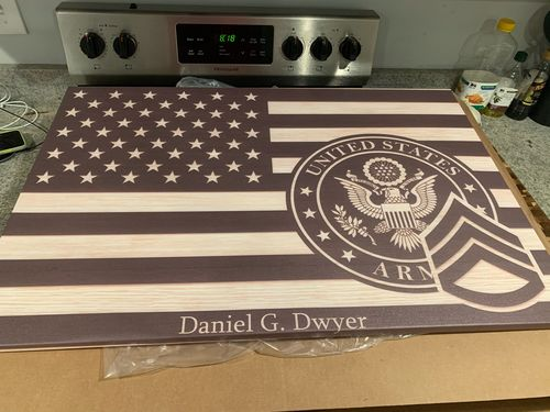 Johnny  O. review of Personalized Canvas - Black/White American Flag With Military Ranks/Insignia - Personalized Text & Ranks/Insignia